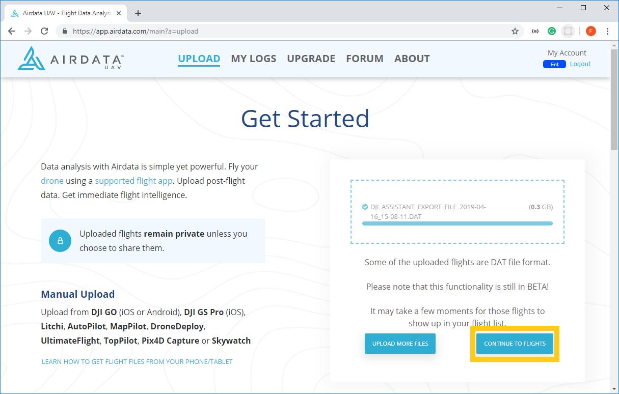 DAT flight log upload instructions