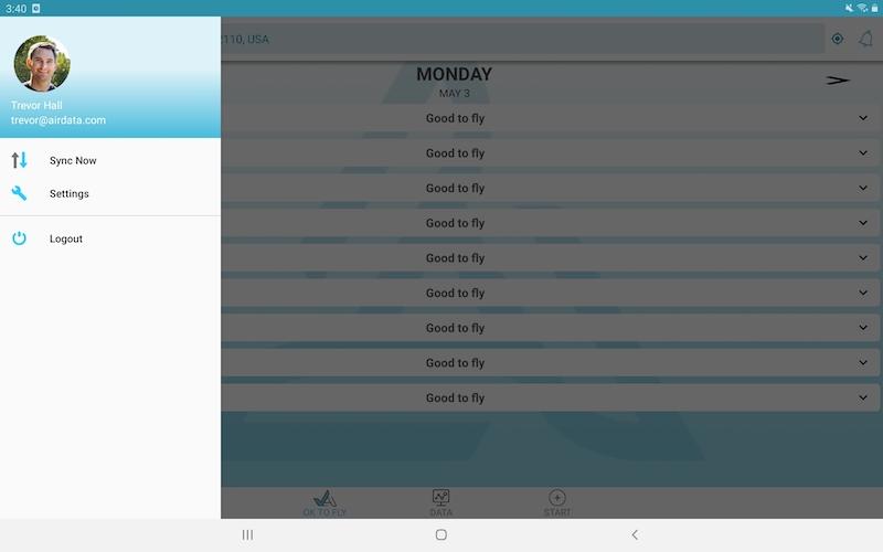 airdata app menu