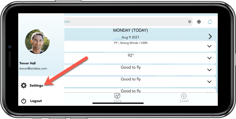 airdata ios app settings