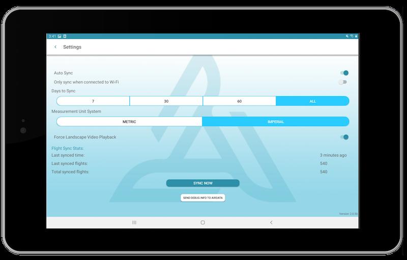 airdata app settings