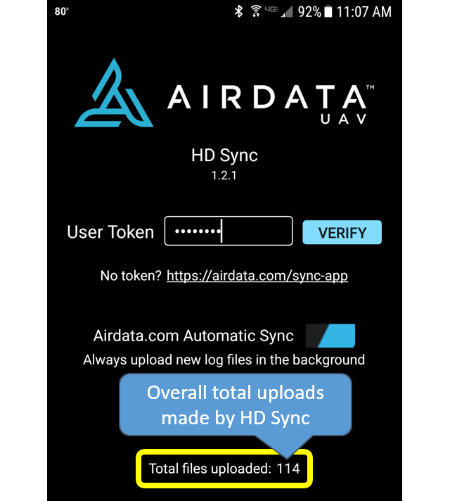 HD Sync App for Android - Airdata UAV